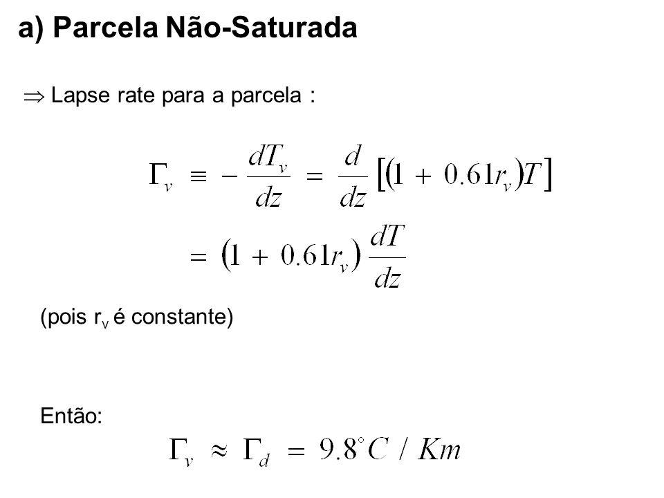 Lapse rate para a parcela : Então: a) Parcela Não-Saturada (pois r v é constante)