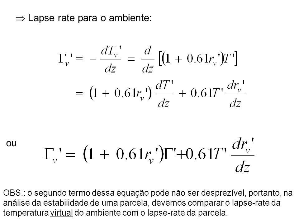 Lapse rate para o ambiente: OBS.: o segundo termo dessa equação pode não ser desprezível, portanto, na análise da estabilidade de uma parcela, devemos