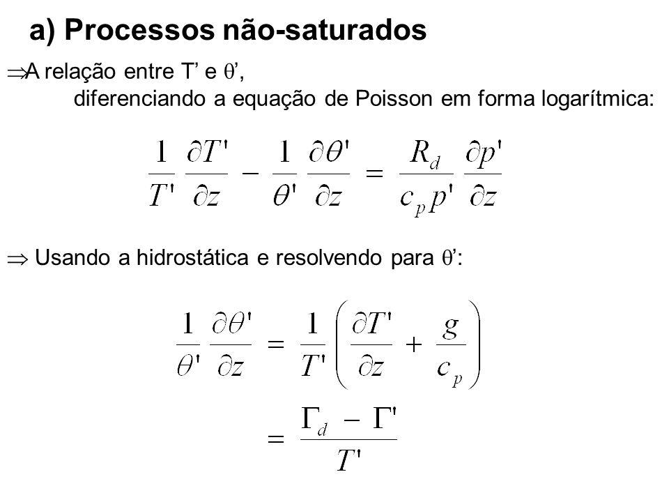 A relação entre T e, diferenciando a equação de Poisson em forma logarítmica: Usando a hidrostática e resolvendo para : a) Processos não-saturados