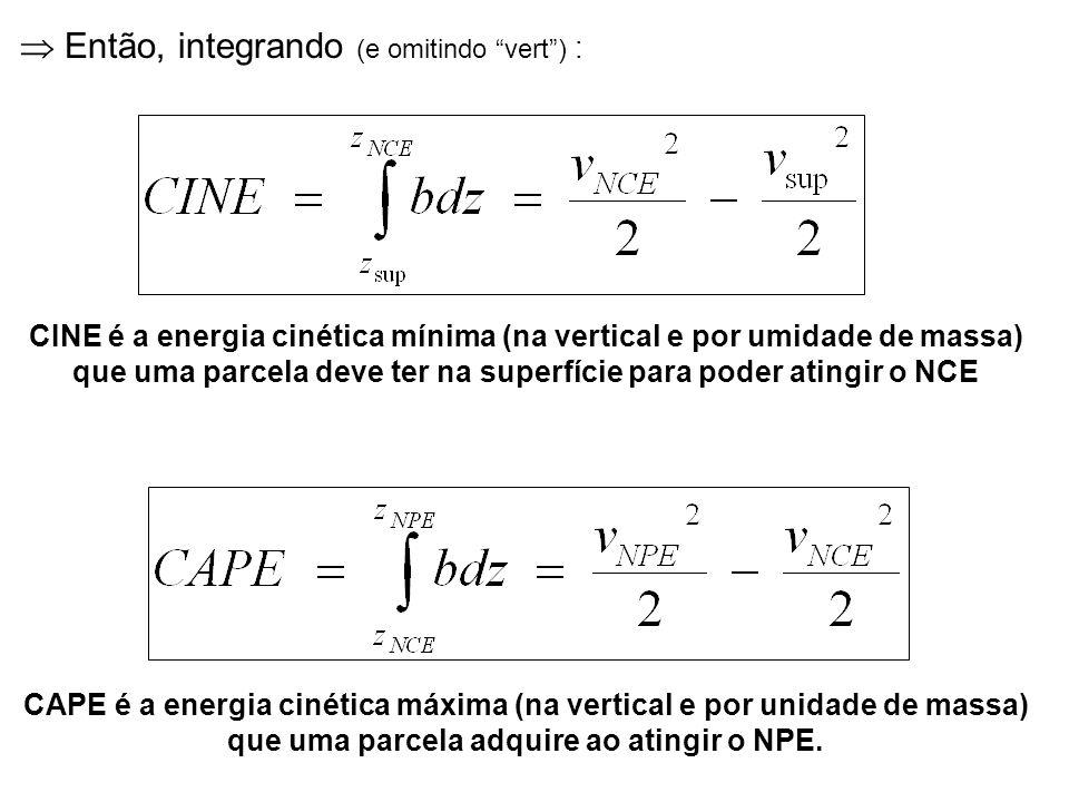Então, integrando (e omitindo vert) : CAPE é a energia cinética máxima (na vertical e por unidade de massa) que uma parcela adquire ao atingir o NPE.