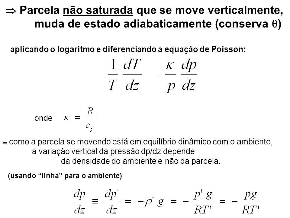 Substituindo na equação anterior: ou seja, uma parcela não saturada, subindo, não esfria exatamente na mesma taxa de esfriamento de uma atmosfera com constante.