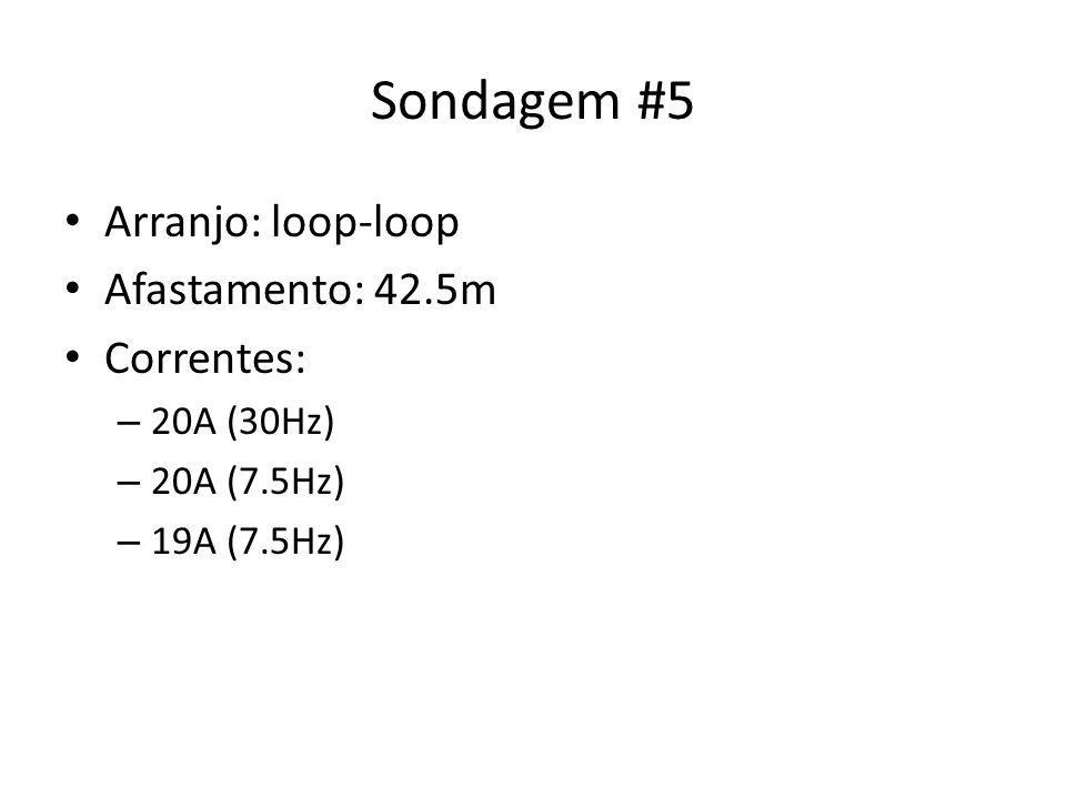 Sondagem #5 Arranjo: loop-loop Afastamento: 42.5m Correntes: – 20A (30Hz) – 20A (7.5Hz) – 19A (7.5Hz)