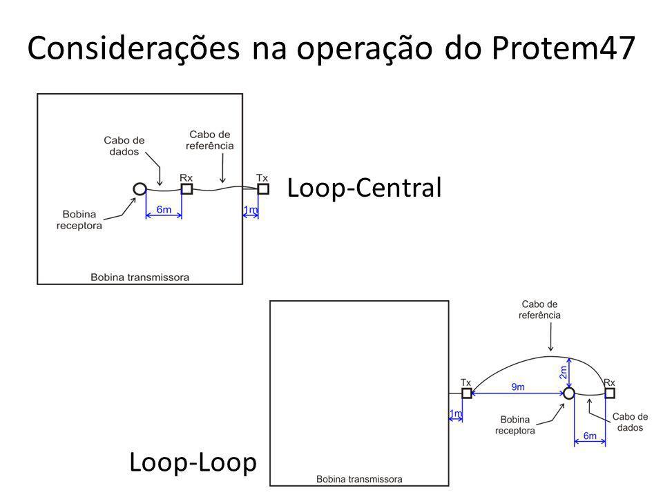 Considerações na operação do Protem47 Loop-Central Loop-Loop