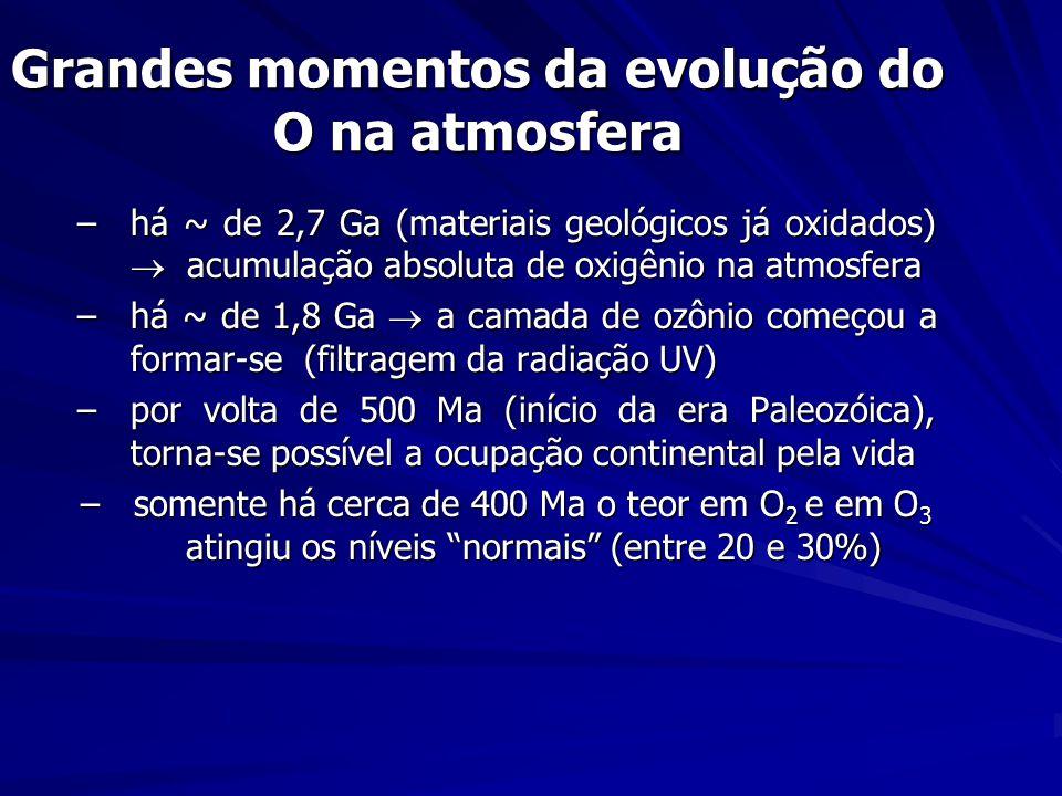 Grandes momentos da evolução do O na atmosfera –há ~ de 2,7 Ga (materiais geológicos já oxidados) acumulação absoluta de oxigênio na atmosfera –há ~ de 1,8 Ga a camada de ozônio começou a formar-se (filtragem da radiação UV) –por volta de 500 Ma (início da era Paleozóica), torna-se possível a ocupação continental pela vida –somente há cerca de 400 Ma o teor em O 2 e em O 3 atingiu os níveis normais (entre 20 e 30%)