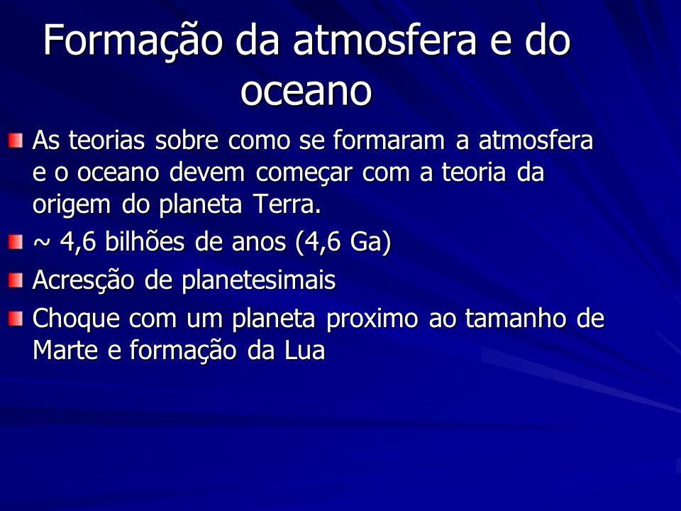 Formação da atmosfera e do oceano As teorias sobre como se formaram a atmosfera e o oceano devem começar com a teoria da origem do planeta Terra.