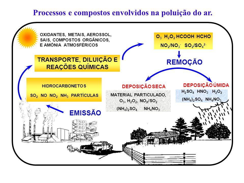 OXIDANTES, METAIS, AEROSSOL, SAIS, COMPOSTOS ORGÂNICOS, E AMÔNIA ATMOSFÉRICOS TRANSPORTE, DILUIÇÃO E REAÇÕES QUÍMICAS EMISSÃO DEPOSIÇÃO SECA DEPOSIÇÃO ÚMIDA REMOÇÃO O 3 H 2 O 2 HCOOH HCHO NO 2 /NO 3 - SO 2 /SO 4 2- HIDROCARBONETOS SO 2 NO NO 2 NH 3 PARTÍCULAS H 2 SO 4 HNO 3 H 2 O 2 (NH 4 ) 2 SO 4 NH 4 NO 3 MATERIAL PARTICULADO, O 3, H 2 O 2, NO X /SO 2 (NH 4 ) 2 SO 4 NH 4 NO 3 Processos e compostos envolvidos na poluição do ar.
