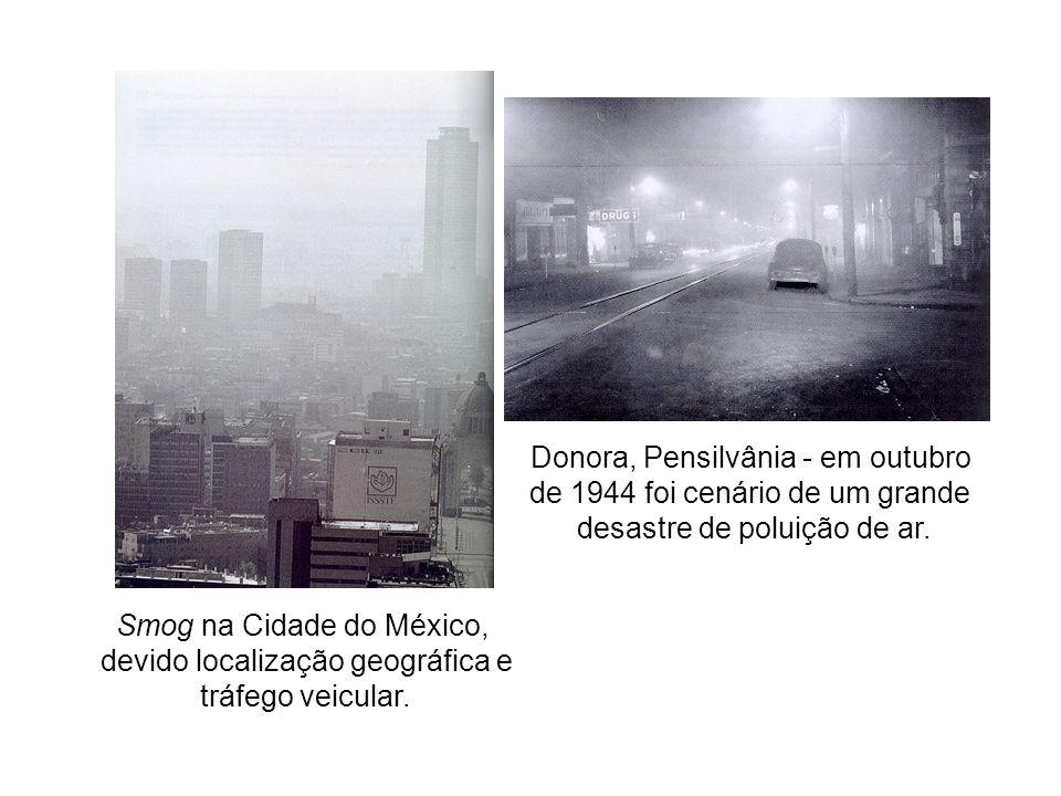 Smog na Cidade do México, devido localização geográfica e tráfego veicular.
