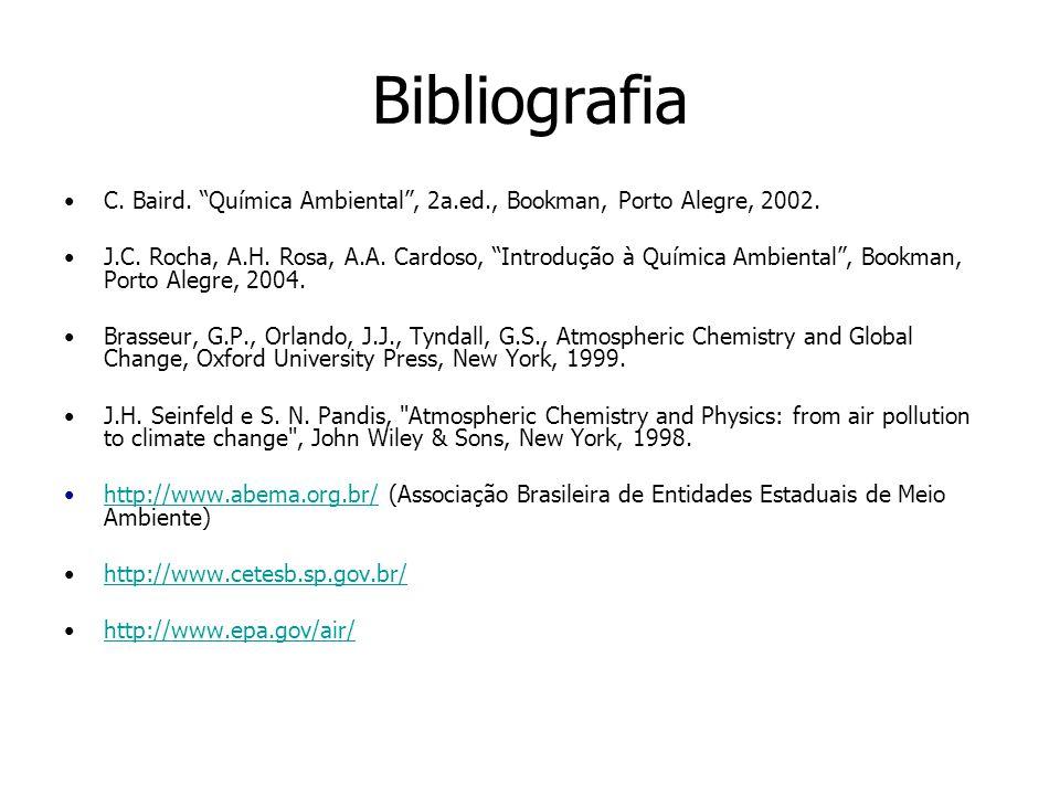 Bibliografia C.Baird. Química Ambiental, 2a.ed., Bookman, Porto Alegre, 2002.