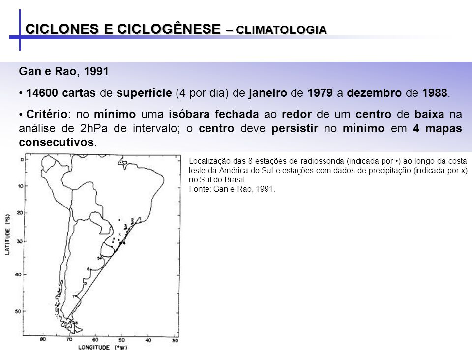 CICLONES E CICLOGÊNESE – CLIMATOLOGIA Gan e Rao, 1991 14600 cartas de superfície (4 por dia) de janeiro de 1979 a dezembro de 1988. Critério: no mínim