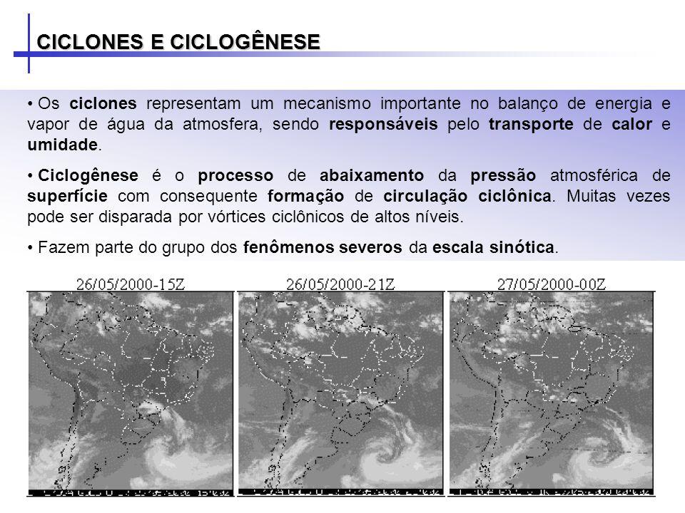 CICLONES E CICLOGÊNESE – EXEMPLO Dia 09/08/2005 às 12UTC: a) Imagem de satélite do GOES-12 no visível; b) PNMM (hPa) e vorticidade relativa em 1000hPa (10 -5 s - 1 ); c) altura geopotencial e vorticidade relativa em 500hPa (10 -5 s -1 ); d) vento em 925hPa e temperatura em 1000hPa; advecção de vorticidade ciclônica (10 -10 s -2 ) e geopotencial em 500hPa; seção vertical de vorticidade ciclônica (10 -5 s -1 ) e vento meridional (m/s).