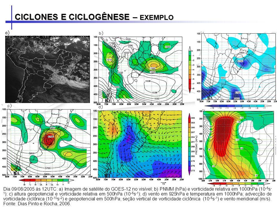 CICLONES E CICLOGÊNESE – EXEMPLO Dia 11/08/2005 às 12UTC: a) Imagem de satélite do GOES-12 no visível; b) PNMM (hPa) e vorticidade relativa em 1000hPa (10 -5 s - 1 ); c) altura geopotencial e vorticidade relativa em 500hPa (10 -5 s -1 ); d) vento em 925hPa e temperatura em 1000hPa; advecção de vorticidade ciclônica (10 -10 s -2 ) e geopotencial em 500hPa; seção vertical de vorticidade ciclônica (10 -5 s -1 ) e vento meridional (m/s).