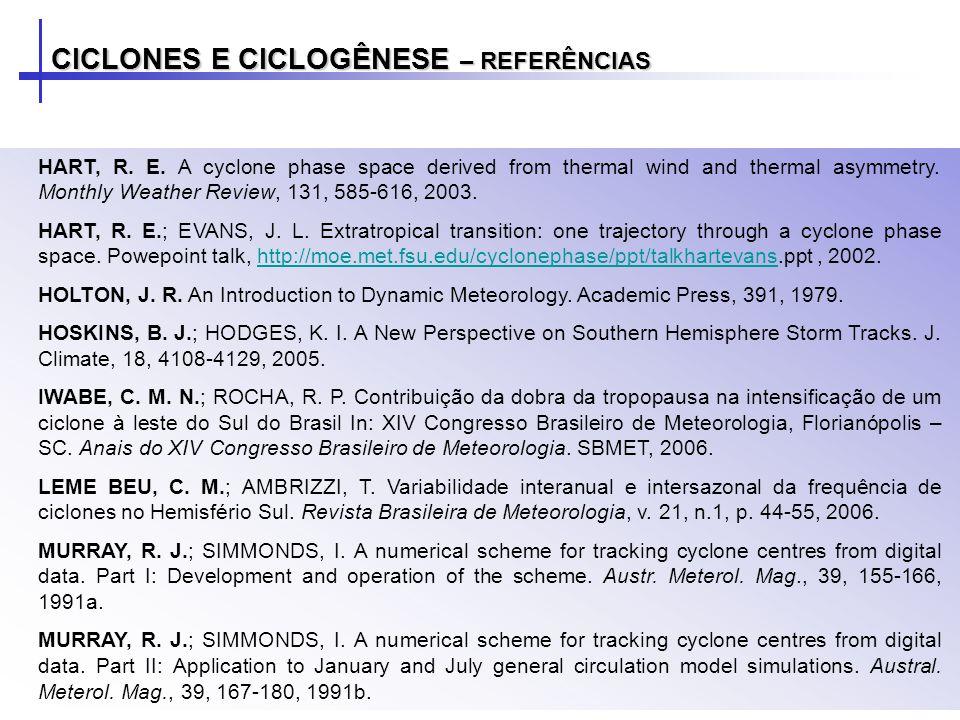 CICLONES E CICLOGÊNESE – REFERÊNCIAS HART, R.E.