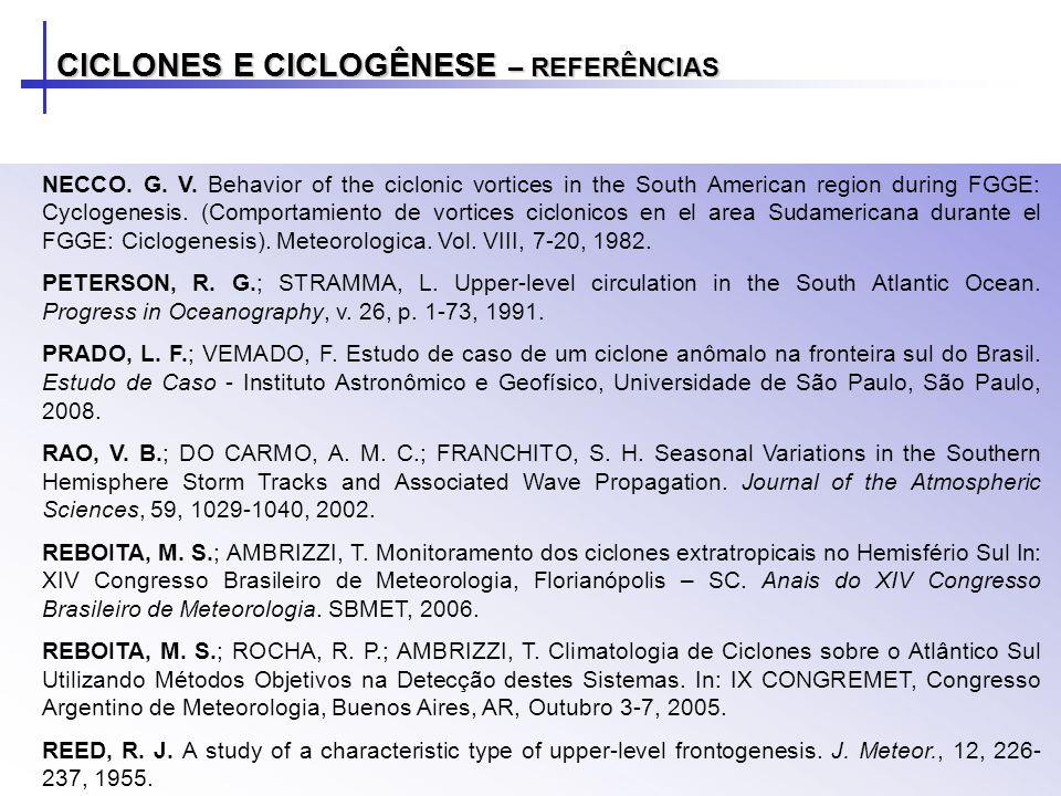 CICLONES E CICLOGÊNESE – REFERÊNCIAS NECCO.G. V.