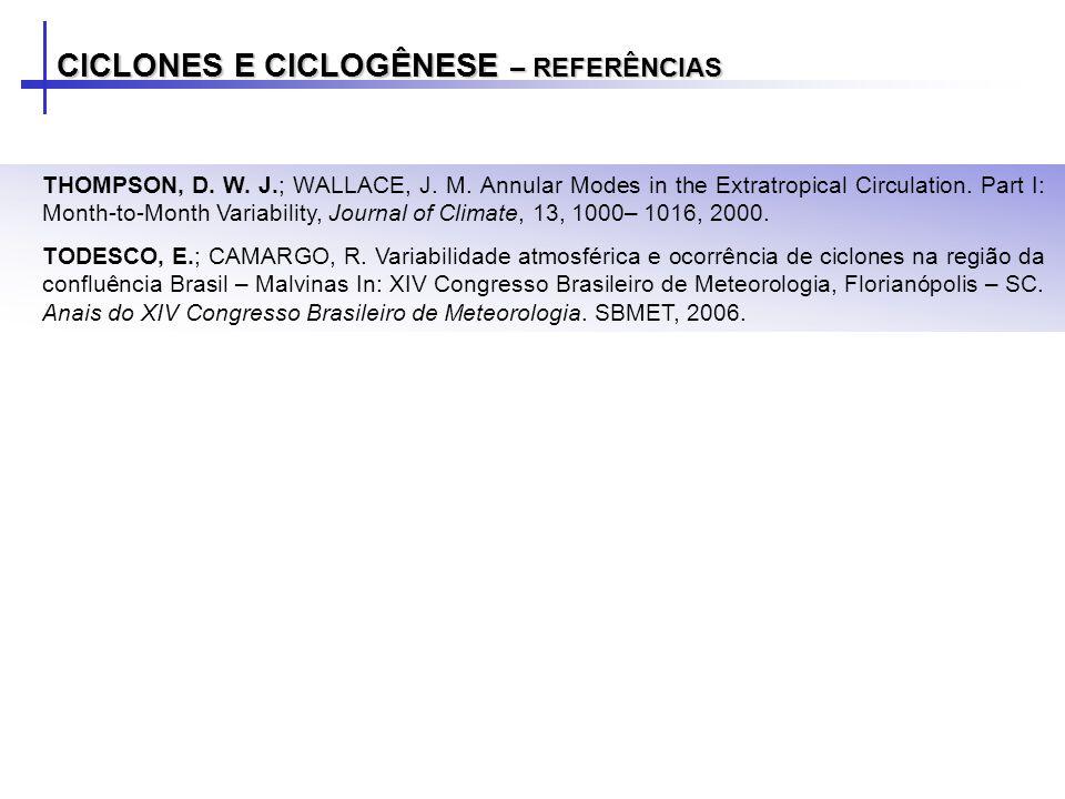 CICLONES E CICLOGÊNESE – REFERÊNCIAS THOMPSON, D.W.