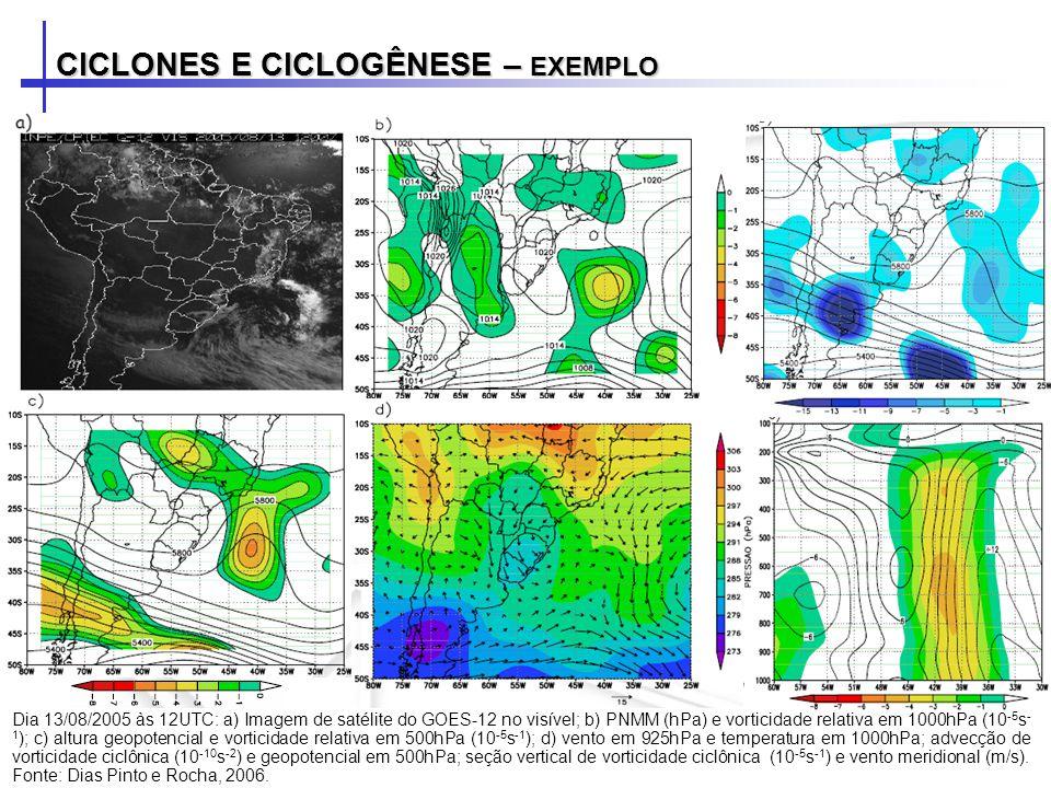 CICLONES E CICLOGÊNESE – EXEMPLO Dia 13/08/2005 às 12UTC: a) Imagem de satélite do GOES-12 no visível; b) PNMM (hPa) e vorticidade relativa em 1000hPa