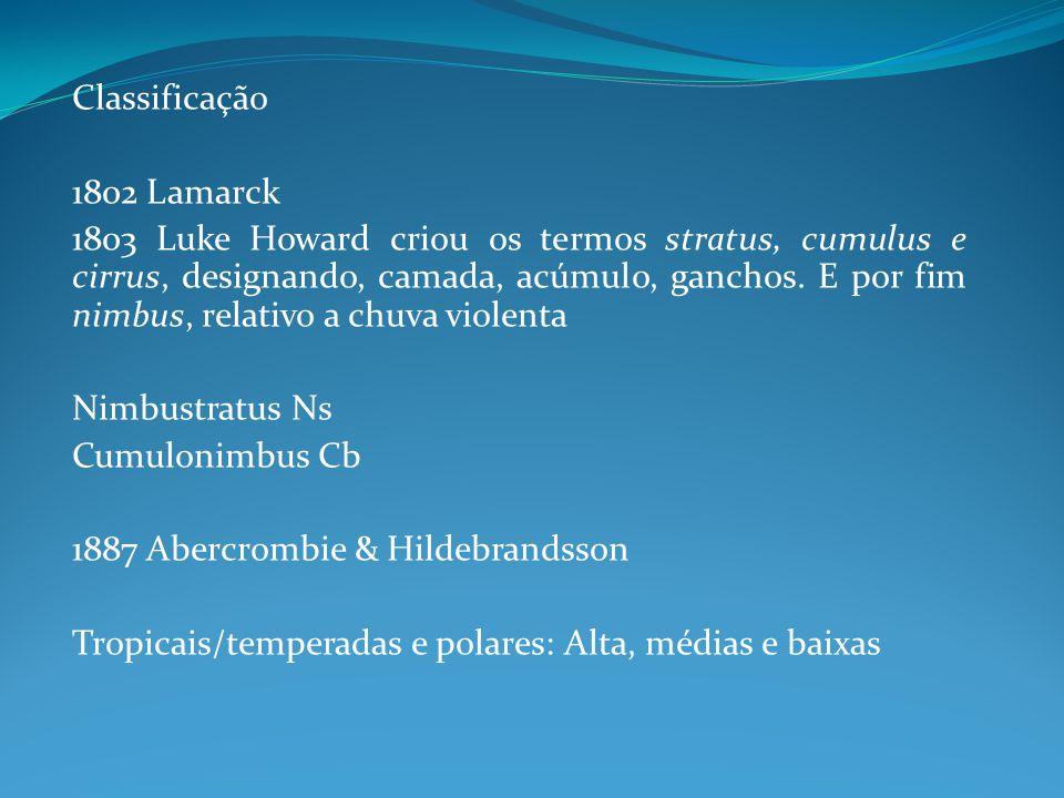 Classificação 1802 Lamarck 1803 Luke Howard criou os termos stratus, cumulus e cirrus, designando, camada, acúmulo, ganchos. E por fim nimbus, relativ