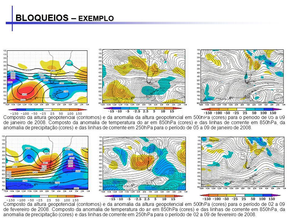 Composto da altura geopotencial (contornos) e da anomalia da altura geopotencial em 500hPa (cores) para o período de 05 a 09 de janeiro de 2008. Compo