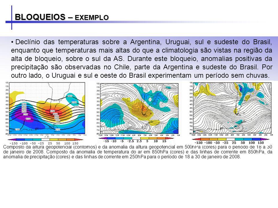 BLOQUEIOS – EXEMPLO Declínio das temperaturas sobre a Argentina, Uruguai, sul e sudeste do Brasil, enquanto que temperaturas mais altas do que a clima