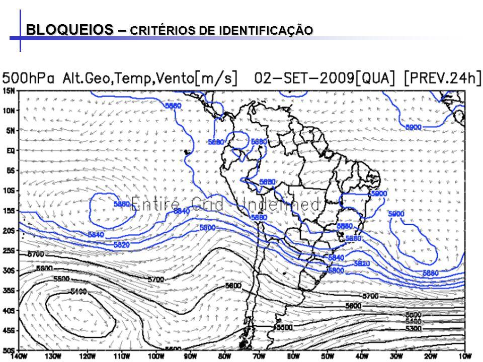 Tibaldi e Molteni (1990): Para obter o dia bloqueado foram calculados dois gradientes meridionais da altura geopotencial em 500hPa (GHGS e GHGN) para um intervalo de 2,5° x 2,5° de longitude.
