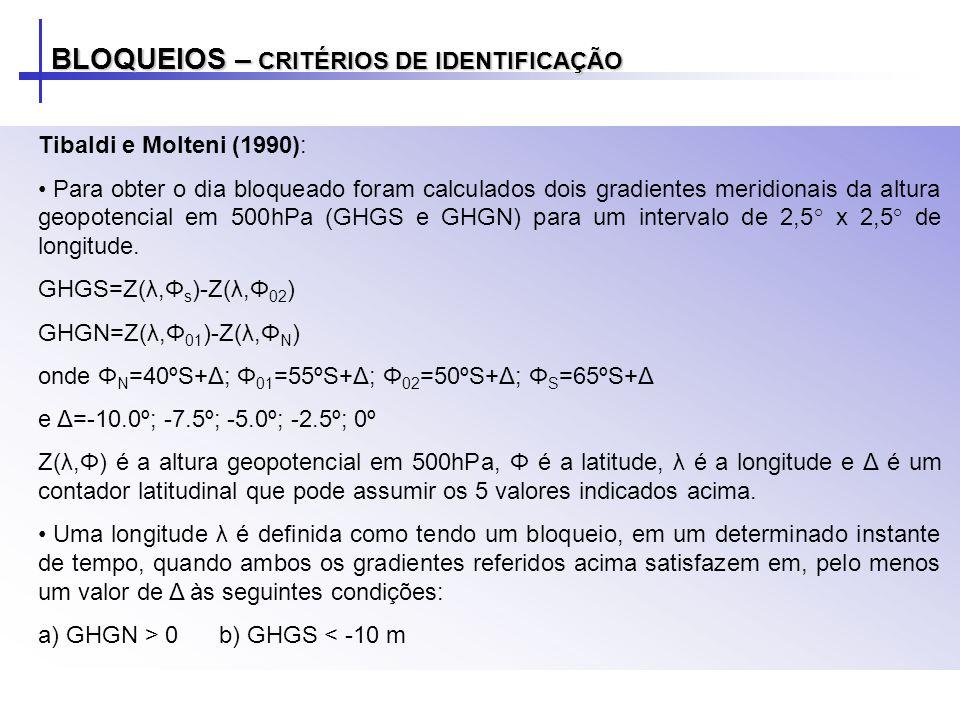 Tibaldi e Molteni (1990): Para obter o dia bloqueado foram calculados dois gradientes meridionais da altura geopotencial em 500hPa (GHGS e GHGN) para