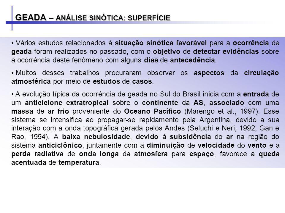 GEADA – ANÁLISE SINÓTICA: SUPERFÍCIE Vários estudos relacionados à situação sinótica favorável para a ocorrência de geada foram realizados no passado,