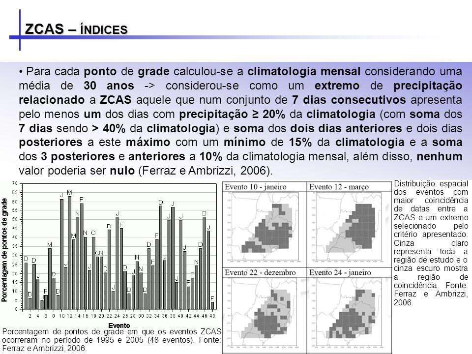 Para cada ponto de grade calculou-se a climatologia mensal considerando uma média de 30 anos -> considerou-se como um extremo de precipitação relacion