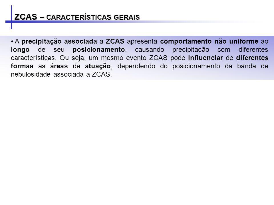 ZCAS – CARACTERÍSTICAS GERAIS A precipitação associada a ZCAS apresenta comportamento não uniforme ao longo de seu posicionamento, causando precipitaç