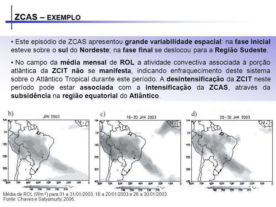 ZCAS – EXEMPLO Este episódio de ZCAS apresentou grande variabilidade espacial: na fase inicial esteve sobre o sul do Nordeste; na fase final se desloc