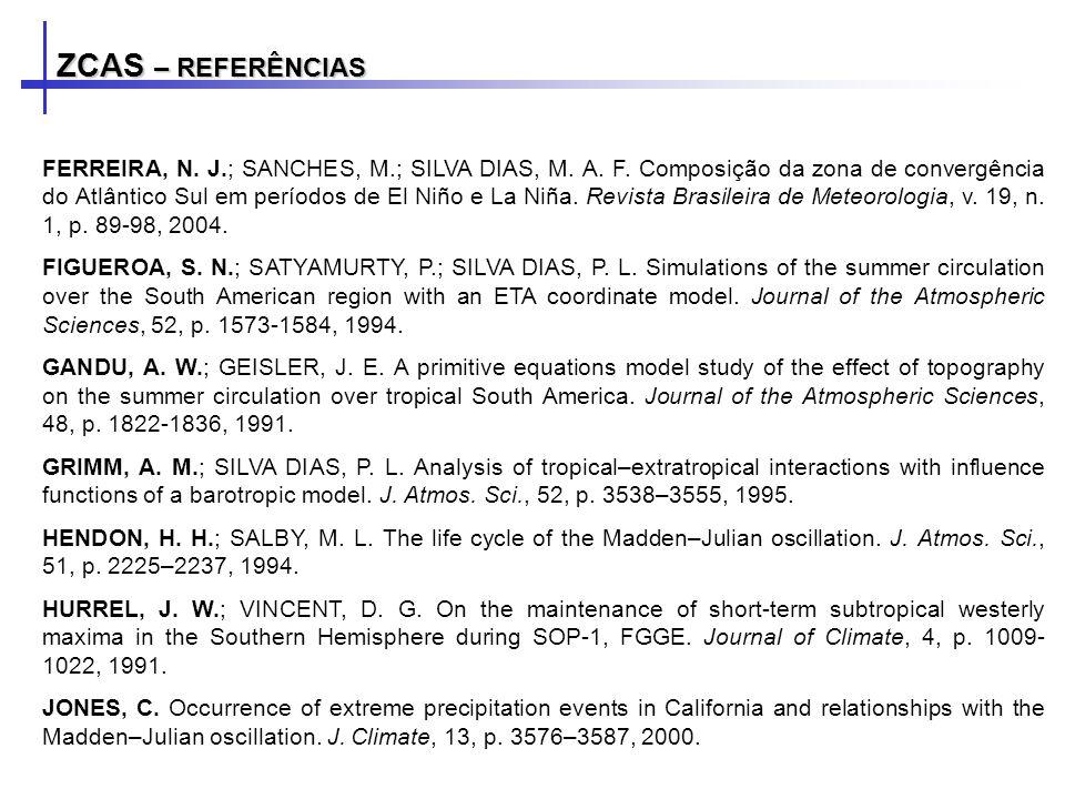 ZCAS – REFERÊNCIAS FERREIRA, N. J.; SANCHES, M.; SILVA DIAS, M. A. F. Composição da zona de convergência do Atlântico Sul em períodos de El Niño e La