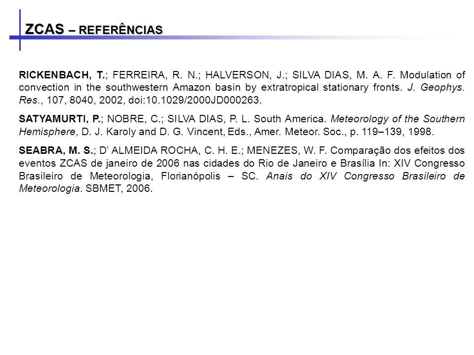 ZCAS – REFERÊNCIAS RICKENBACH, T.; FERREIRA, R. N.; HALVERSON, J.; SILVA DIAS, M. A. F. Modulation of convection in the southwestern Amazon basin by e