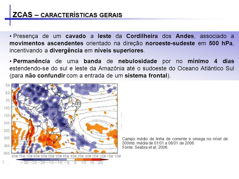 ZCAS – CARACTERÍSTICAS GERAIS Campo médio de linha de corrente e divergência do vento no nível de 200mb: média de 01/01 a 08/01 de 2006.