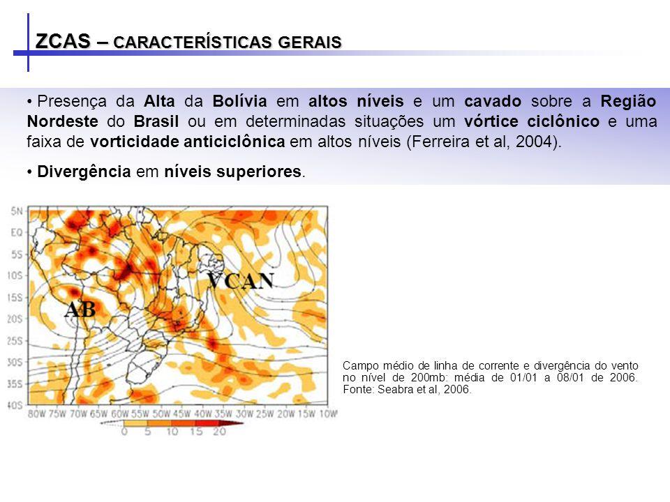 ZCAS – CARACTERÍSTICAS GERAIS Campo médio de linha de corrente e divergência do vento no nível de 200mb: média de 01/01 a 08/01 de 2006. Fonte: Seabra