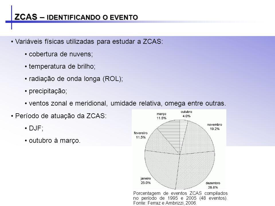 Variáveis físicas utilizadas para estudar a ZCAS: cobertura de nuvens; temperatura de brilho; radiação de onda longa (ROL); precipitação; ventos zonal