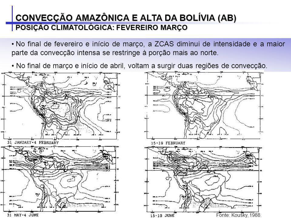 No final de fevereiro e início de março, a ZCAS diminui de intensidade e a maior parte da convecção intensa se restringe à porção mais ao norte. No fi