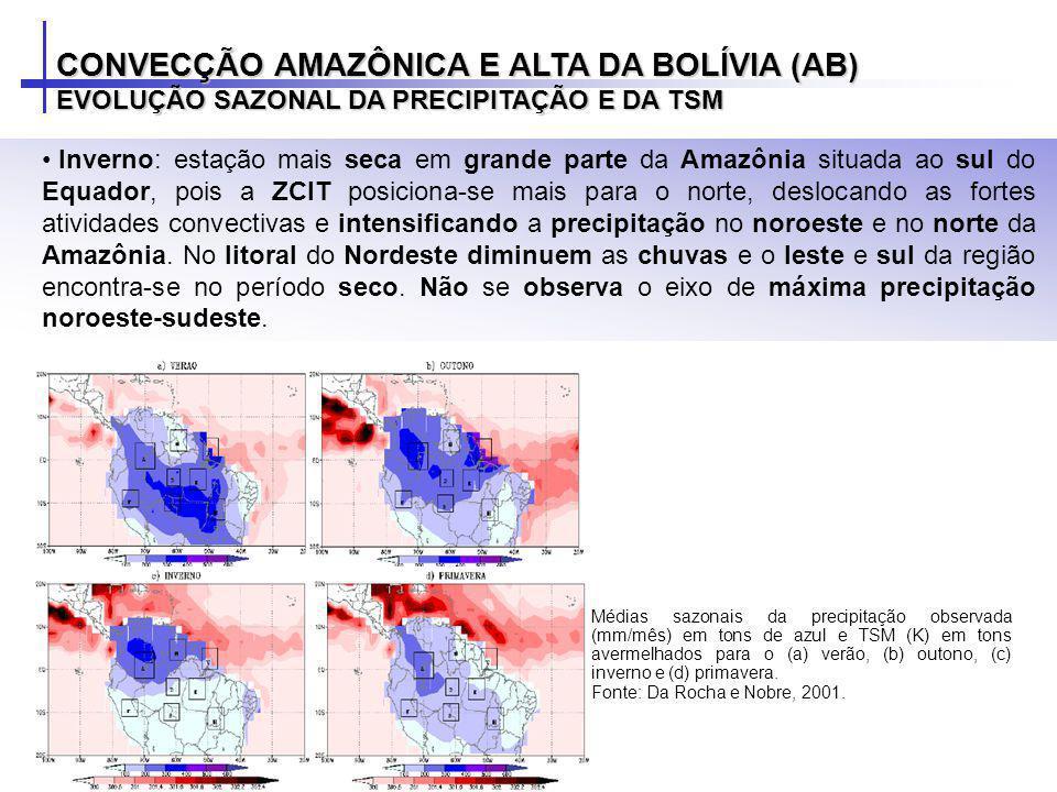 Inverno: estação mais seca em grande parte da Amazônia situada ao sul do Equador, pois a ZCIT posiciona-se mais para o norte, deslocando as fortes ati