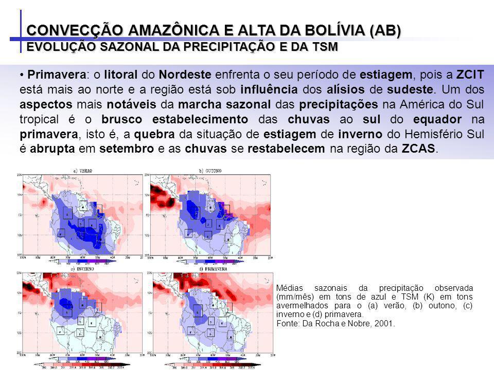 Primavera: o litoral do Nordeste enfrenta o seu período de estiagem, pois a ZCIT está mais ao norte e a região está sob influência dos alísios de sude