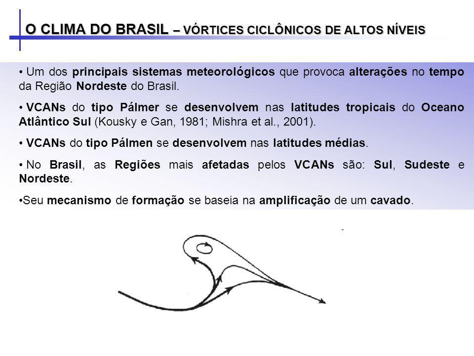 O CLIMA DO BRASIL – VÓRTICES CICLÔNICOS DE ALTOS NÍVEIS Um dos principais sistemas meteorológicos que provoca alterações no tempo da Região Nordeste d