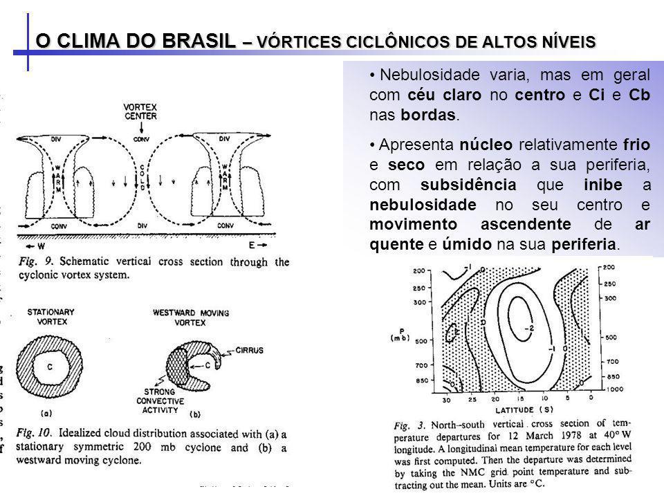 O CLIMA DO BRASIL – VÓRTICES CICLÔNICOS DE ALTOS NÍVEIS Nebulosidade varia, mas em geral com céu claro no centro e Ci e Cb nas bordas. Apresenta núcle