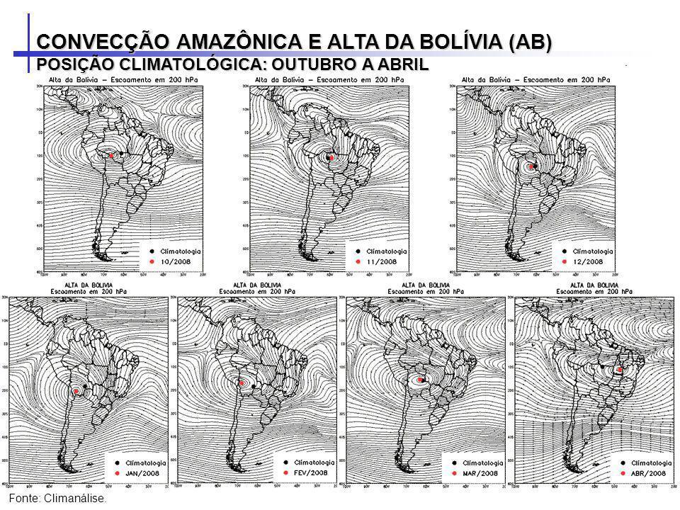 CONVECÇÃO AMAZÔNICA E ALTA DA BOLÍVIA (AB) POSIÇÃO CLIMATOLÓGICA: OUTUBRO A ABRIL Fonte: Climanálise.