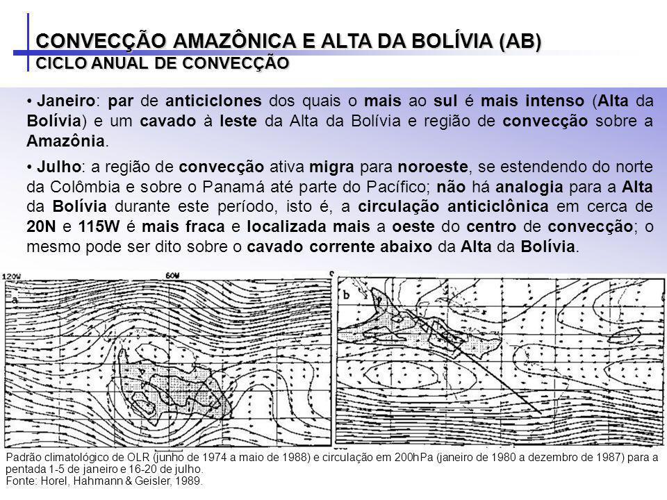 Janeiro: par de anticiclones dos quais o mais ao sul é mais intenso (Alta da Bolívia) e um cavado à leste da Alta da Bolívia e região de convecção sob