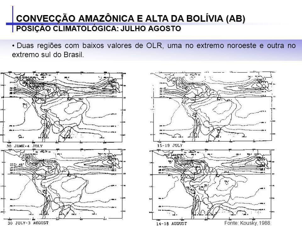 Duas regiões com baixos valores de OLR, uma no extremo noroeste e outra no extremo sul do Brasil. CONVECÇÃO AMAZÔNICA E ALTA DA BOLÍVIA (AB) POSIÇÃO C