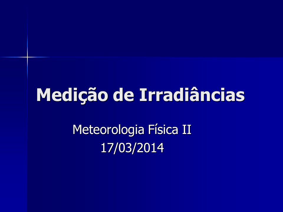 Medição de Irradiâncias Meteorologia Física II 17/03/2014
