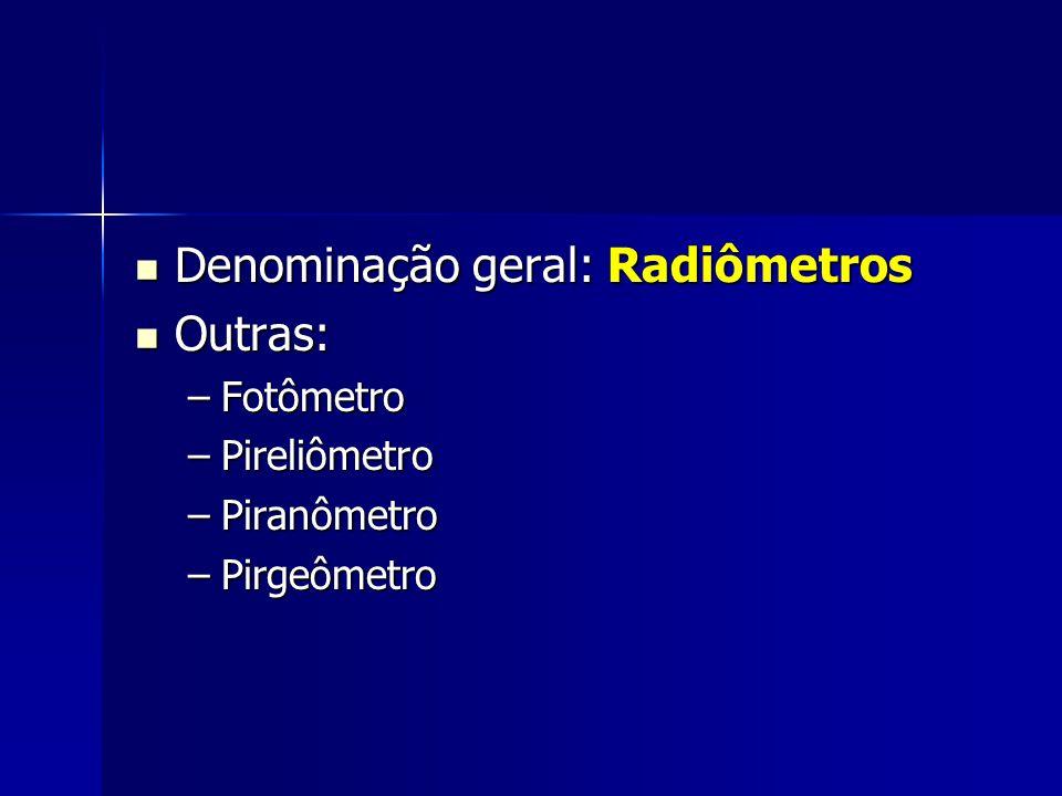 Denominação geral: Radiômetros Denominação geral: Radiômetros Outras: Outras: –Fotômetro –Pireliômetro –Piranômetro –Pirgeômetro
