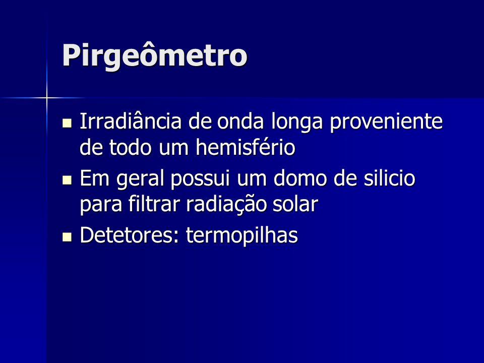 Pirgeômetro Irradiância de onda longa proveniente de todo um hemisfério Irradiância de onda longa proveniente de todo um hemisfério Em geral possui um