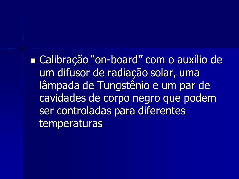 Calibração on-board com o auxílio de um difusor de radiação solar, uma lâmpada de Tungstênio e um par de cavidades de corpo negro que podem ser contro