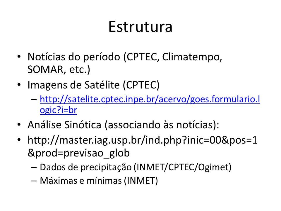 Estrutura Notícias do período (CPTEC, Climatempo, SOMAR, etc.) Imagens de Satélite (CPTEC) – http://satelite.cptec.inpe.br/acervo/goes.formulario.l ogic?i=br http://satelite.cptec.inpe.br/acervo/goes.formulario.l ogic?i=br Análise Sinótica (associando às notícias): http://master.iag.usp.br/ind.php?inic=00&pos=1 &prod=previsao_glob – Dados de precipitação (INMET/CPTEC/Ogimet) – Máximas e mínimas (INMET)