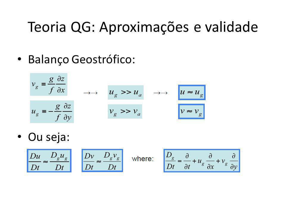 Teoria QG: Aproximações e validade Balanço Geostrófico: Ou seja: