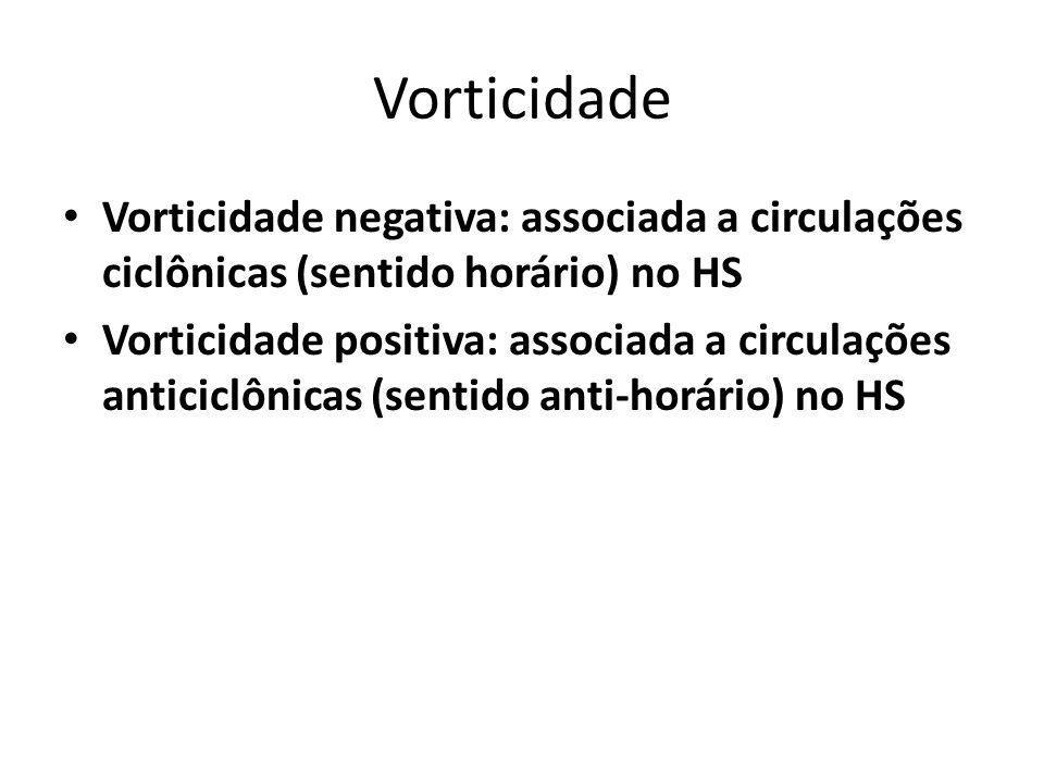Vorticidade Vorticidade negativa: associada a circulações ciclônicas (sentido horário) no HS Vorticidade positiva: associada a circulações anticiclônicas (sentido anti-horário) no HS