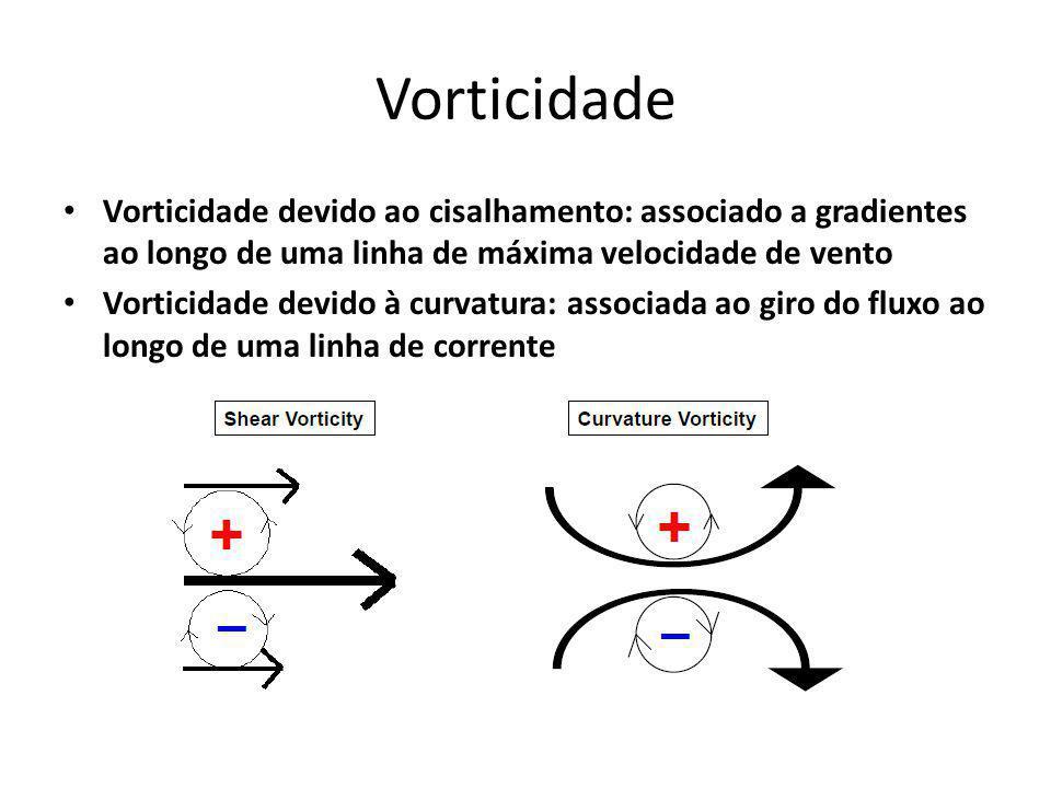 Vorticidade Vorticidade devido ao cisalhamento: associado a gradientes ao longo de uma linha de máxima velocidade de vento Vorticidade devido à curvatura: associada ao giro do fluxo ao longo de uma linha de corrente