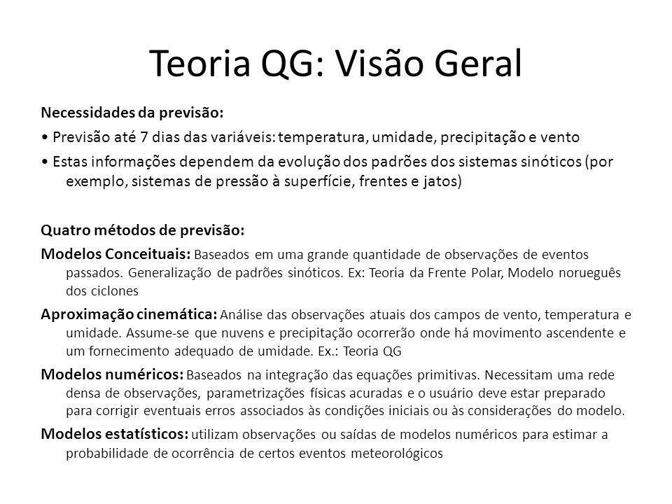 Teoria QG: Visão Geral Necessidades da previsão: Previsão até 7 dias das variáveis: temperatura, umidade, precipitação e vento Estas informações depen